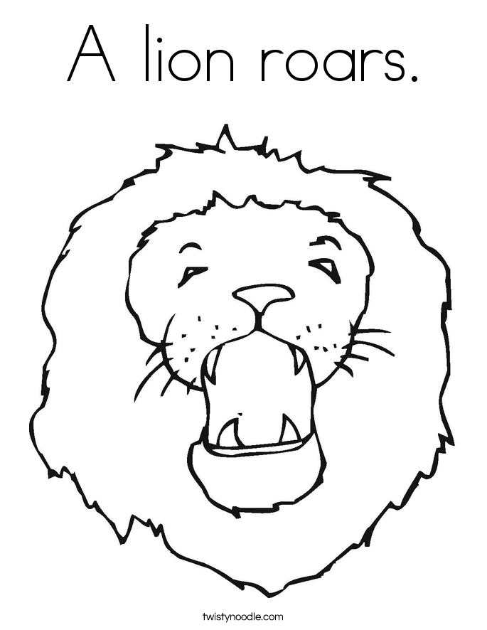 A lion roars. Coloring Page
