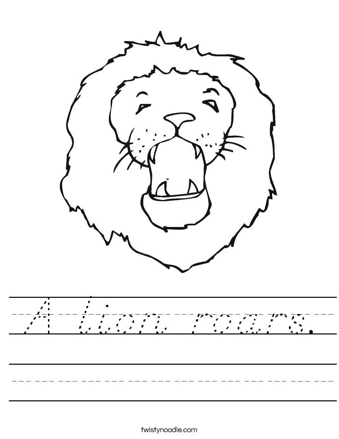 A lion roars. Worksheet