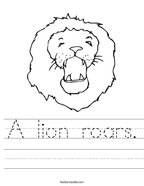 A lion roars Handwriting Sheet