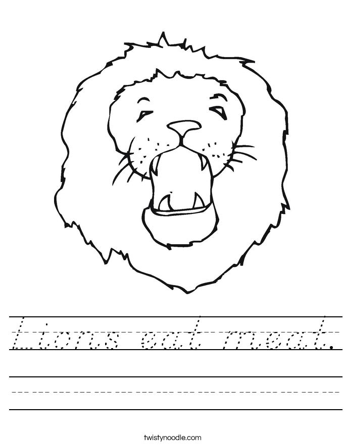 Lions eat meat. Worksheet