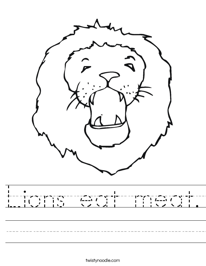 Lions eat meat. Worksheet