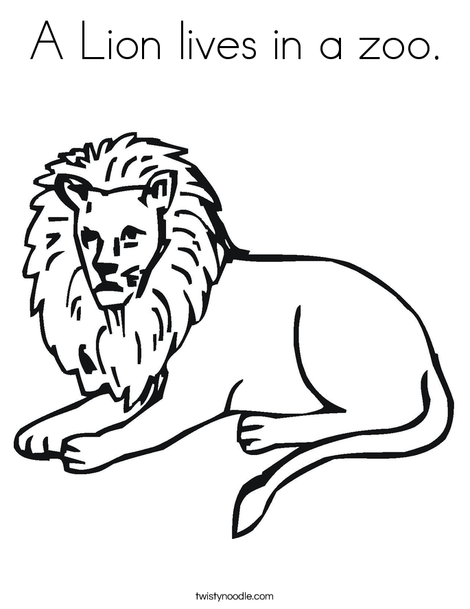 A Lion lives in a zoo. Coloring Page