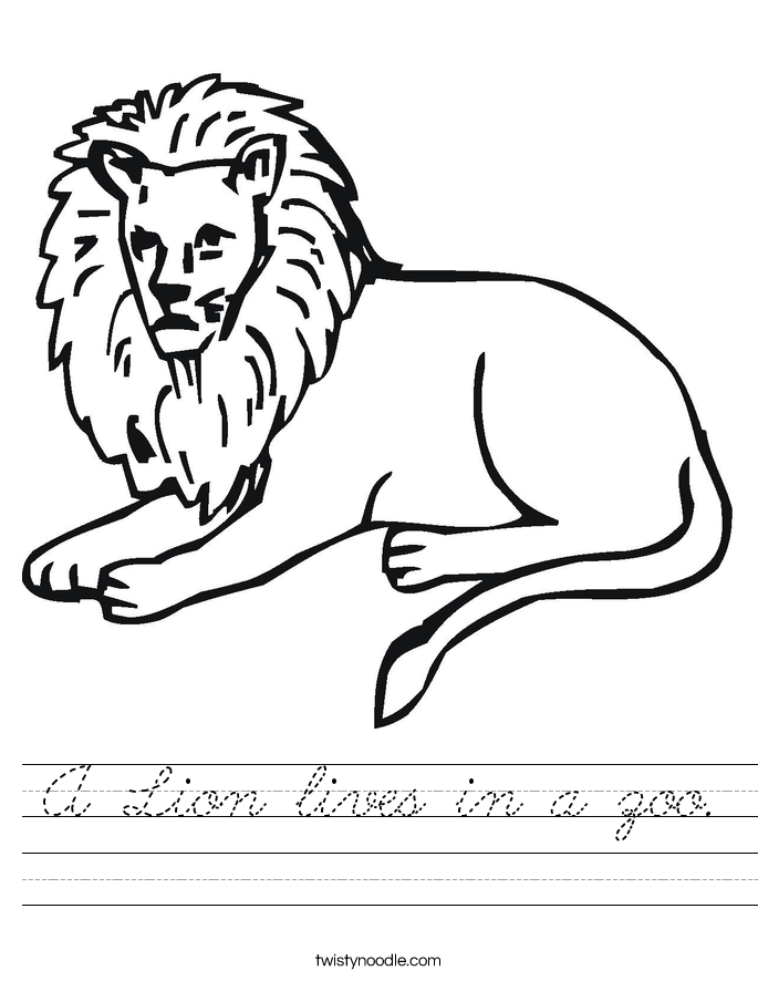 A Lion lives in a zoo. Worksheet