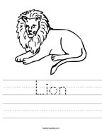 Lion Handwriting Sheet