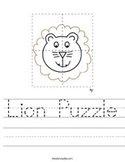 Lion Puzzle Handwriting Sheet