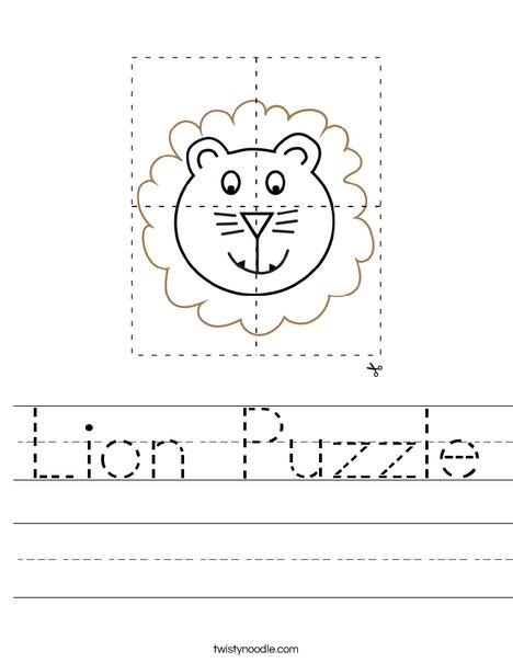Lion Puzzle Worksheet