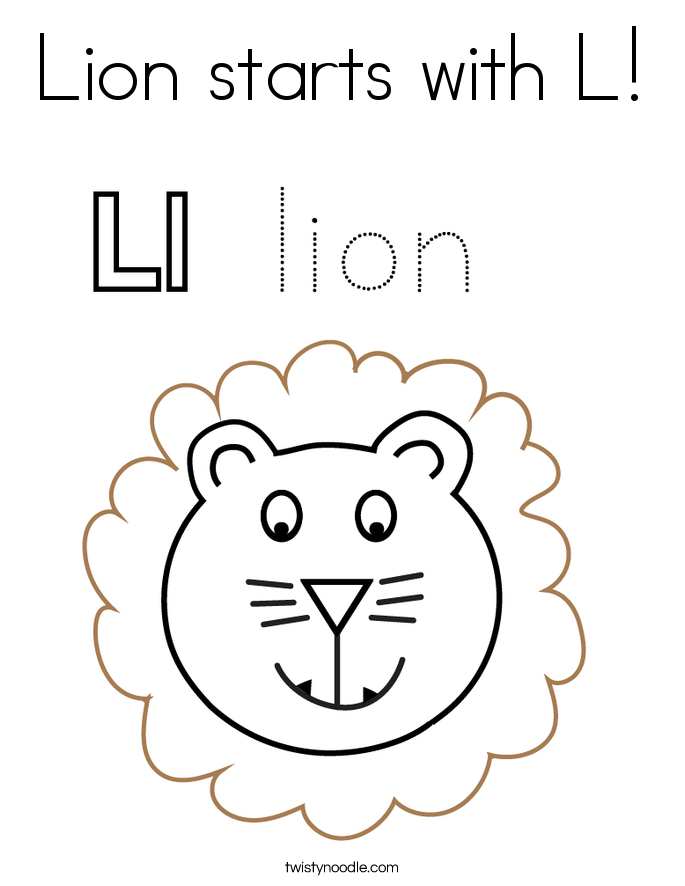 Lion starts with L! Coloring Page