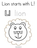 Lion starts with L Coloring Page
