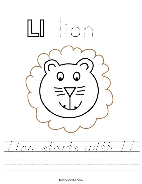 Lion starts with L! Worksheet