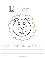 Lion starts with L Handwriting Sheet
