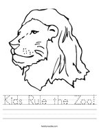 Kids Rule the Zoo Handwriting Sheet
