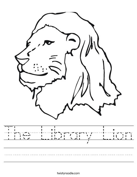 The Library Lion Worksheet - Twisty Noodle