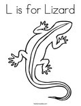 L is for Lizard Coloring Page