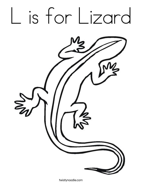 L is for Lizard Coloring Page Twisty Noodle