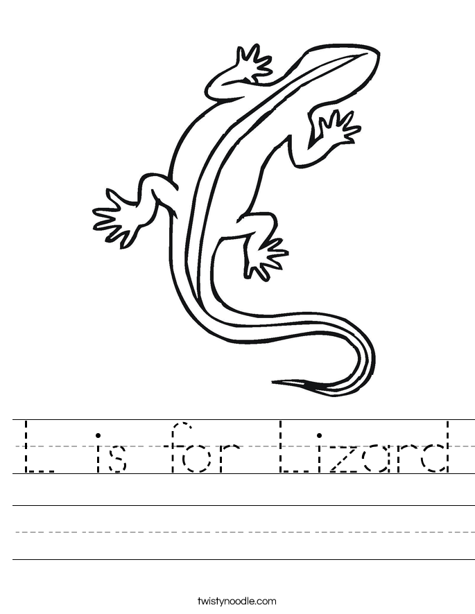 L is for Lizard Worksheet