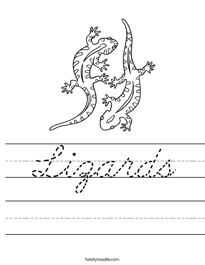 Lizards Worksheet