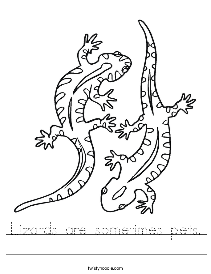 Lizards are sometimes pets. Worksheet