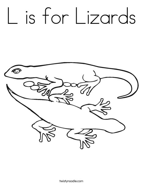L is for Lizards Coloring Page Twisty Noodle