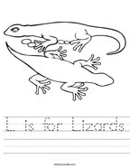 L is for Lizards Handwriting Sheet