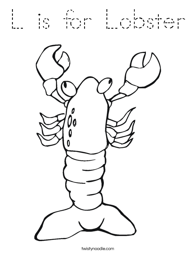 L is for Lobster Coloring Page