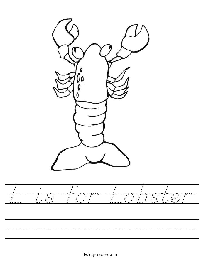 L is for Lobster Worksheet