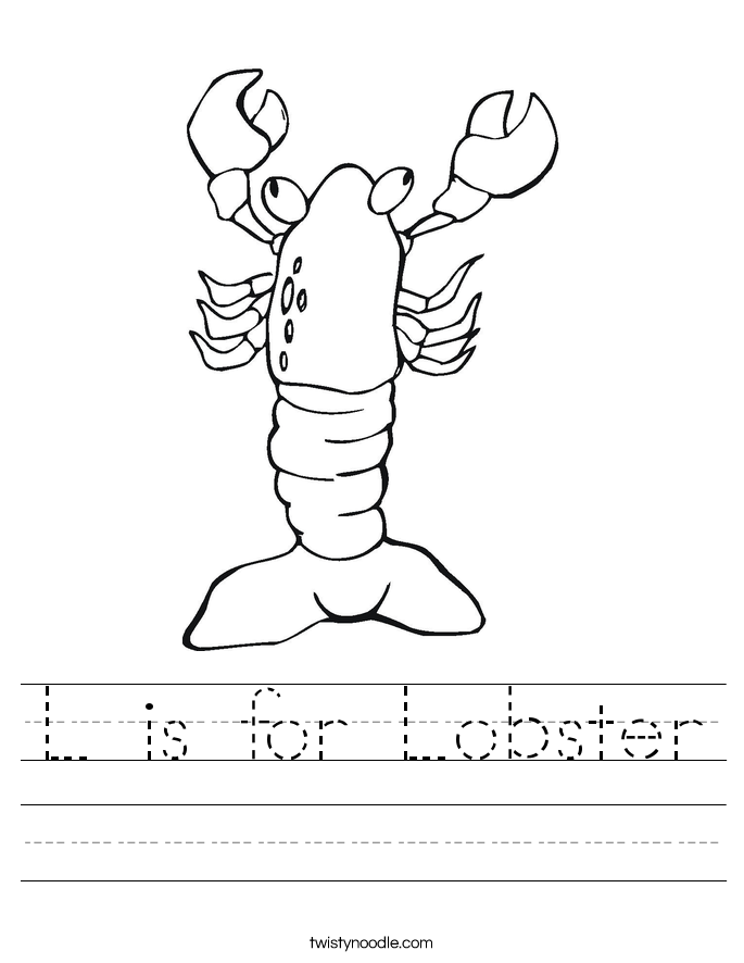 L is for Lobster Worksheet