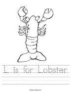 L is for Lobster Handwriting Sheet