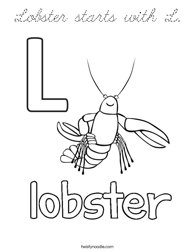 Lobster Starts With L Coloring Page