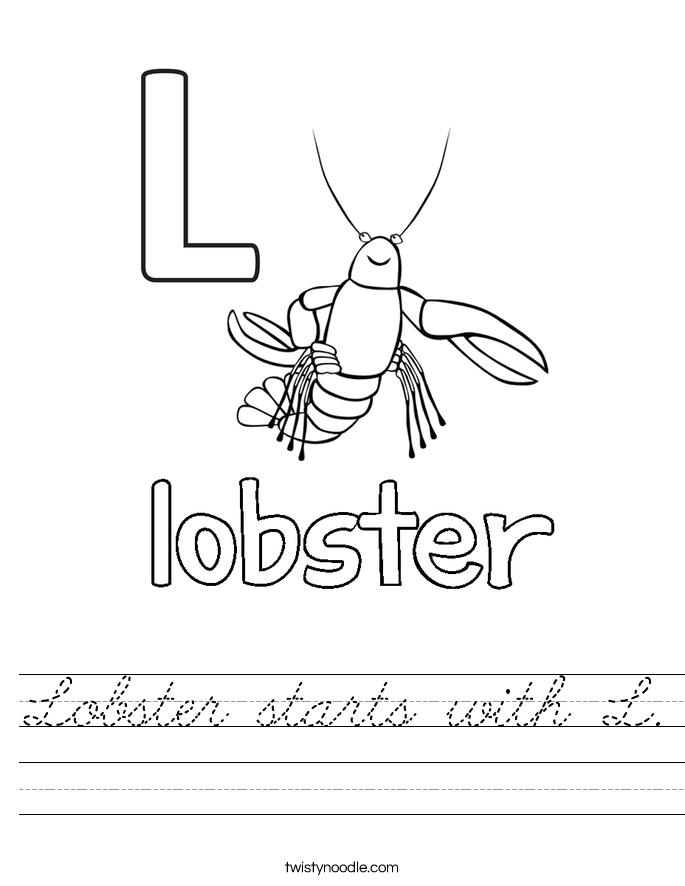 Lobster starts with L. Worksheet