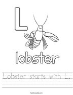 Lobster starts with L Handwriting Sheet