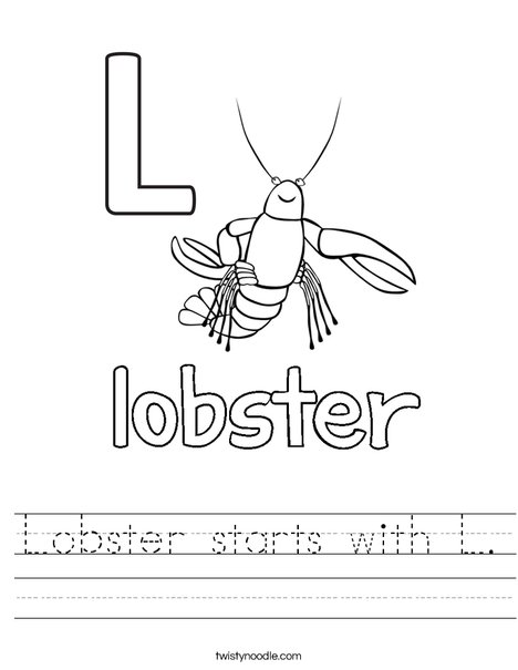 Lobster starts with L. Worksheet