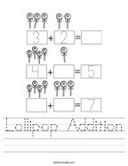 Lollipop Addition Handwriting Sheet