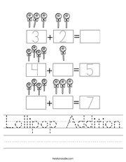 Lollipop Addition Handwriting Sheet
