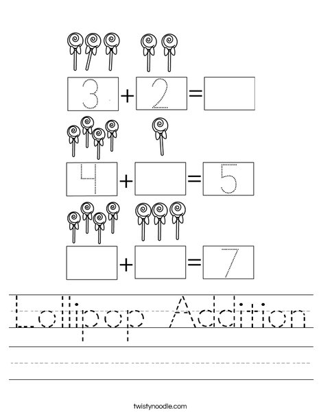 Lollipop Addition Worksheet