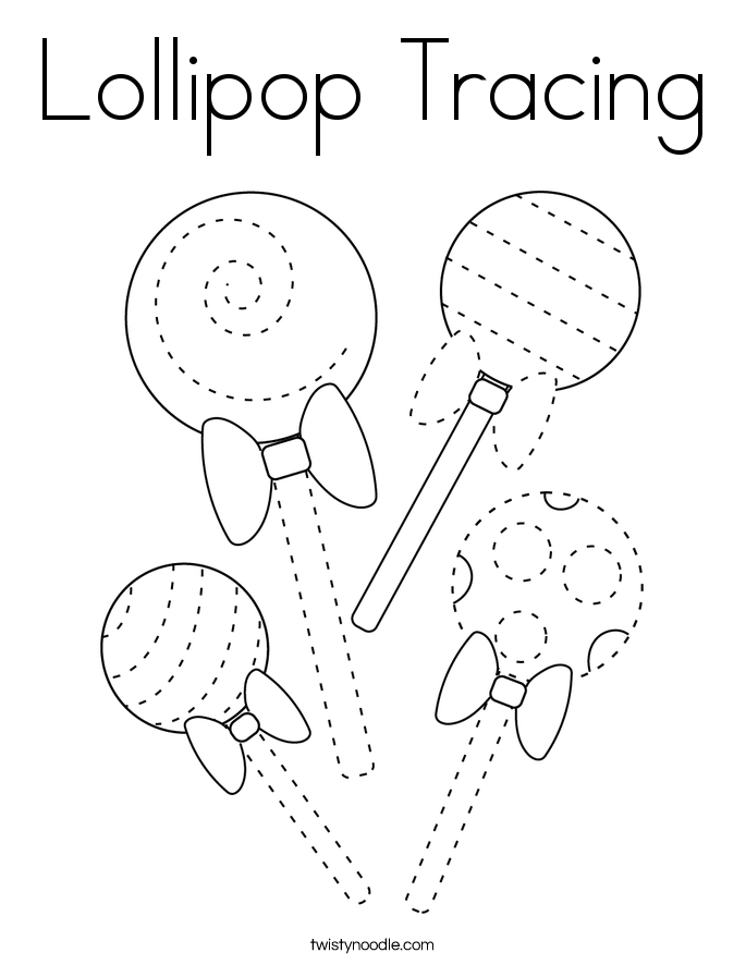 Lollipop Tracing Coloring Page - Twisty Noodle