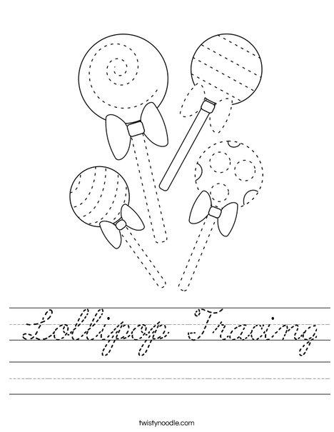 Lollipop Tracing Worksheet
