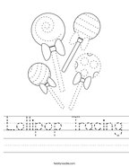 Lollipop Tracing Handwriting Sheet