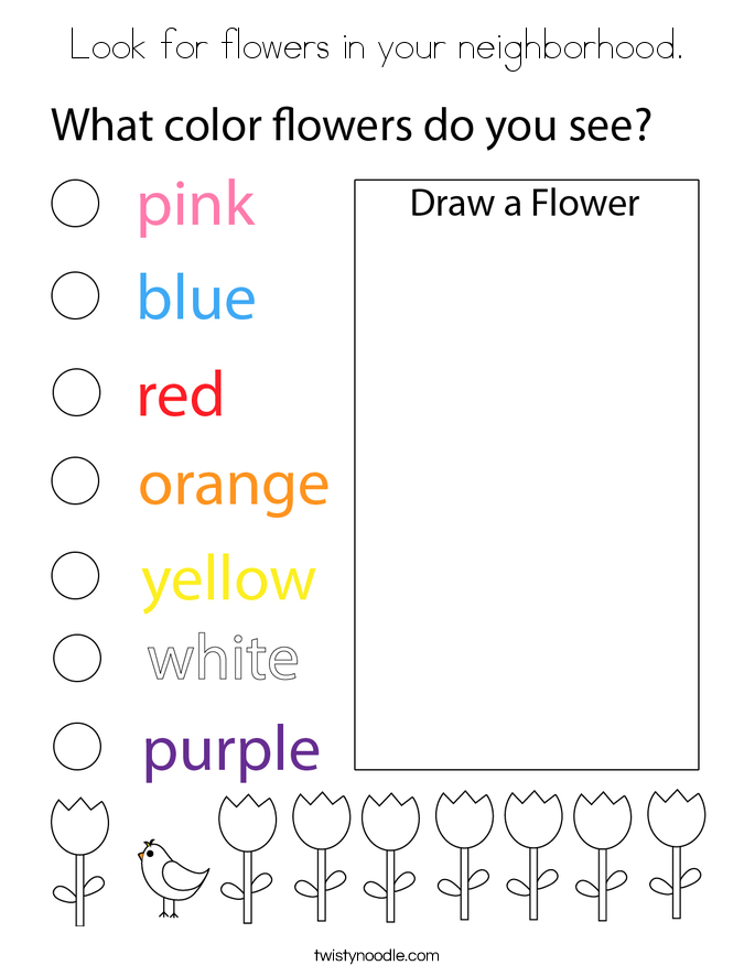Look for flowers in your neighborhood. Coloring Page