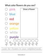 Look for flowers in your neighborhood Handwriting Sheet