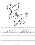 Love Birds Handwriting Sheet