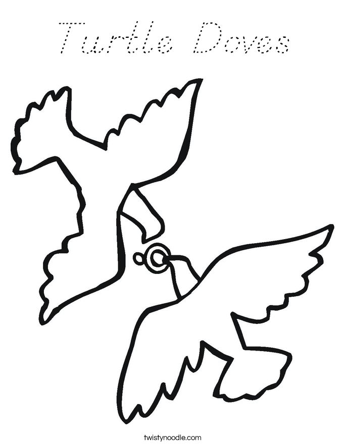 turtle dove template - turtle doves coloring page d 39 nealian twisty noodle