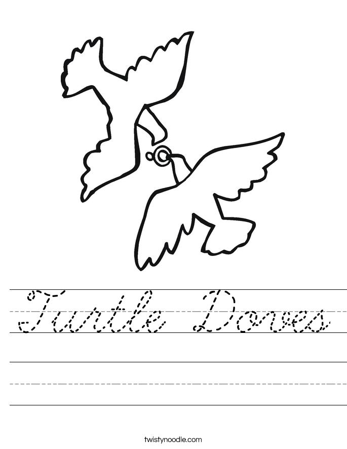 Turtle Doves Worksheet Cursive