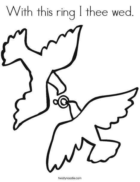 Love Birds and Ring Coloring Page