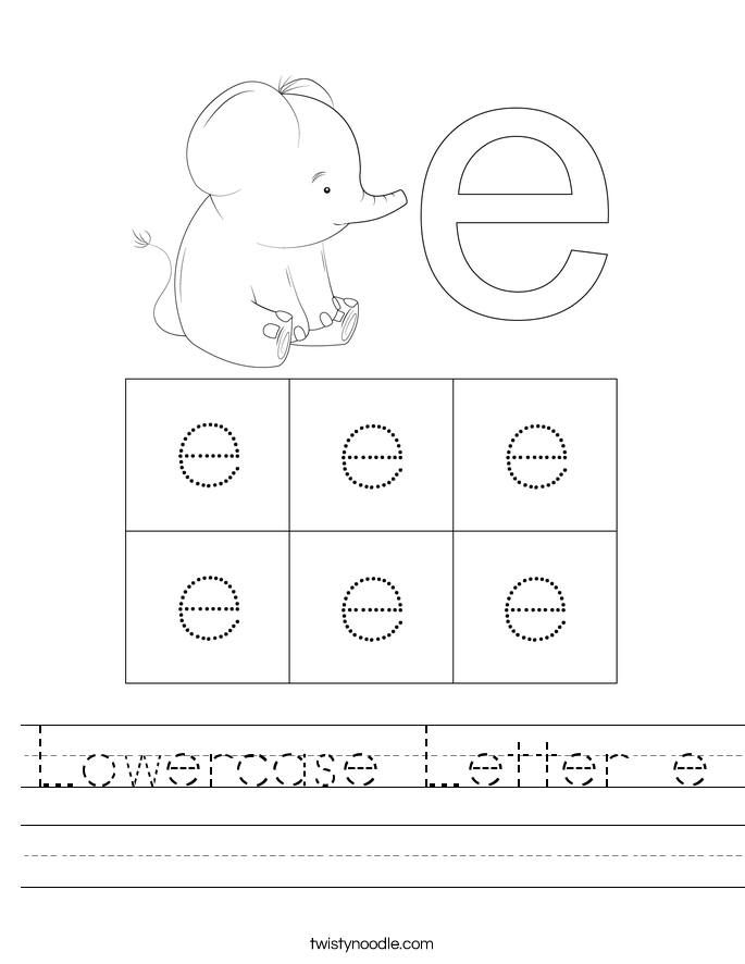 Lowercase Letter e Worksheet