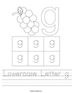 Lowercase Letter g Handwriting Sheet
