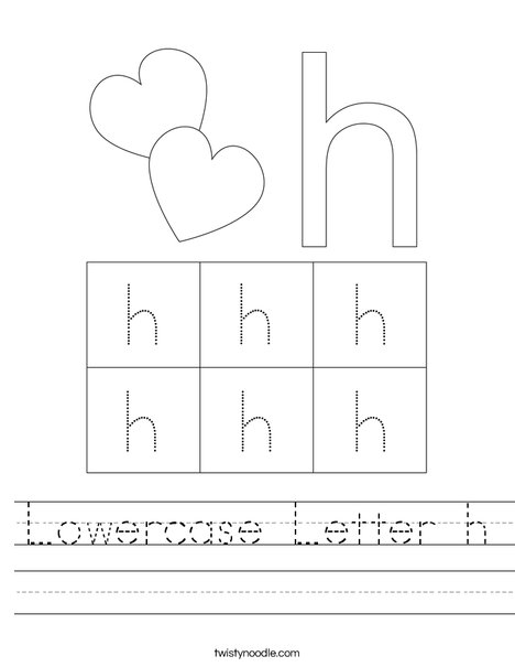 Lowercase Letter h Worksheet - Twisty Noodle