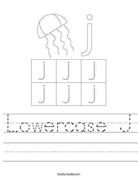Lowercase Letter j Worksheet
