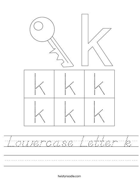 Lowercase Letter k Worksheet