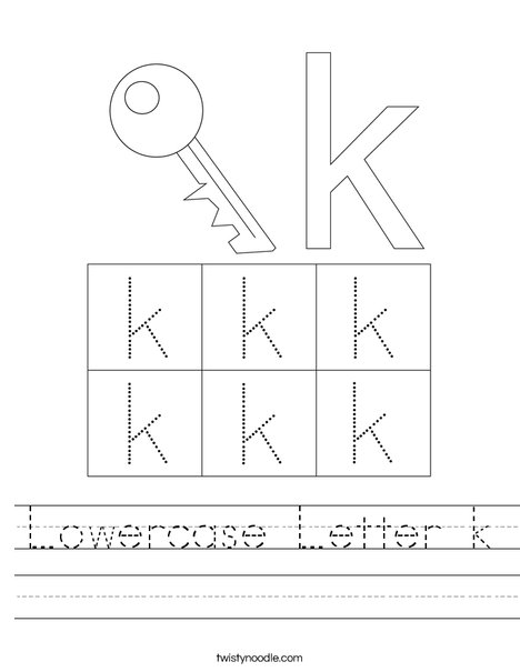 Lowercase Letter k Worksheet