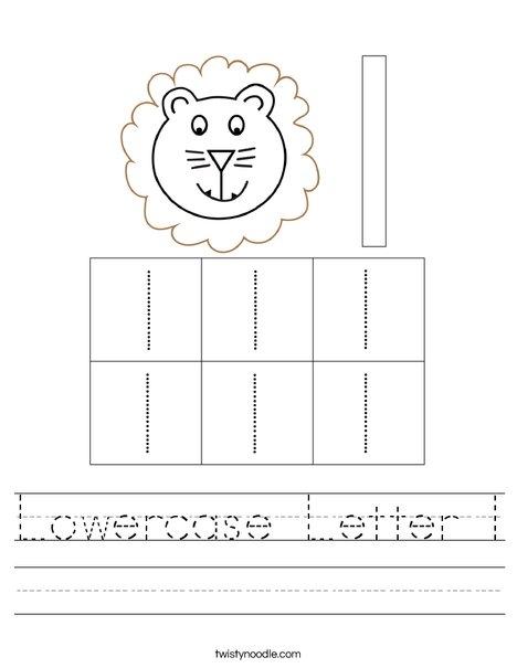 Lowercase letter l Worksheet